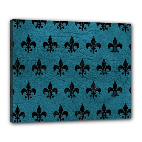Royal1 Black Marble & Teal Leather (r) Canvas 20  X 16  by trendistuff