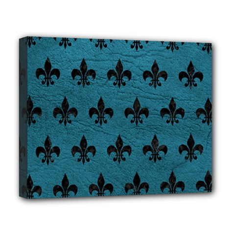 Royal1 Black Marble & Teal Leather (r) Deluxe Canvas 20  X 16   by trendistuff