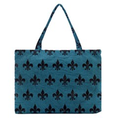 Royal1 Black Marble & Teal Leather (r) Zipper Medium Tote Bag by trendistuff