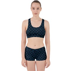 Scales2 Black Marble & Teal Leather (r) Work It Out Sports Bra Set by trendistuff