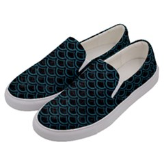 Scales2 Black Marble & Teal Leather (r) Men s Canvas Slip Ons by trendistuff