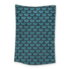 Scales3 Black Marble & Teal Leather Small Tapestry by trendistuff