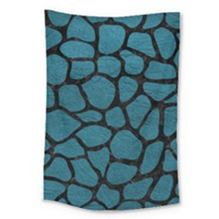 Skin1 Black Marble & Teal Leather (r) Large Tapestry by trendistuff