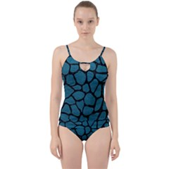Skin1 Black Marble & Teal Leather (r) Cut Out Top Tankini Set