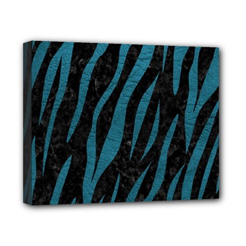 Skin3 Black Marble & Teal Leather (r) Canvas 10  X 8  by trendistuff