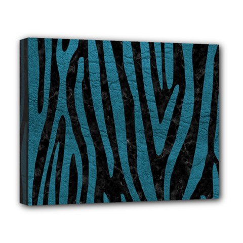 Skin4 Black Marble & Teal Leather Deluxe Canvas 20  X 16   by trendistuff