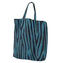 Skin4 Black Marble & Teal Leather (r) Giant Grocery Zipper Tote by trendistuff