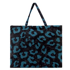 Skin5 Black Marble & Teal Leather Zipper Large Tote Bag by trendistuff