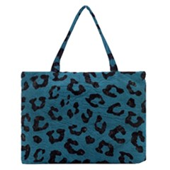 Skin5 Black Marble & Teal Leather (r) Zipper Medium Tote Bag by trendistuff
