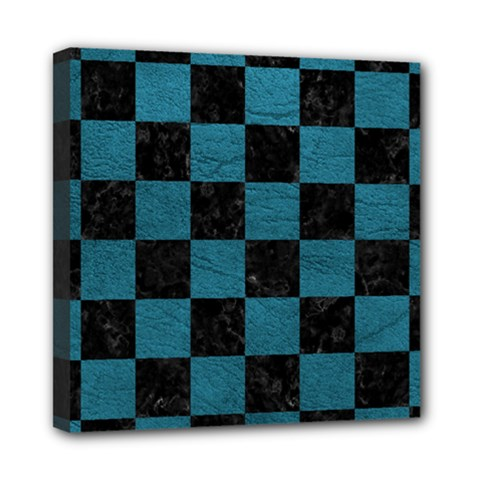 SQUARE1 BLACK MARBLE & TEAL LEATHER Mini Canvas 8  x 8