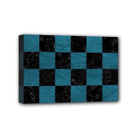 SQUARE1 BLACK MARBLE & TEAL LEATHER Mini Canvas 6  x 4