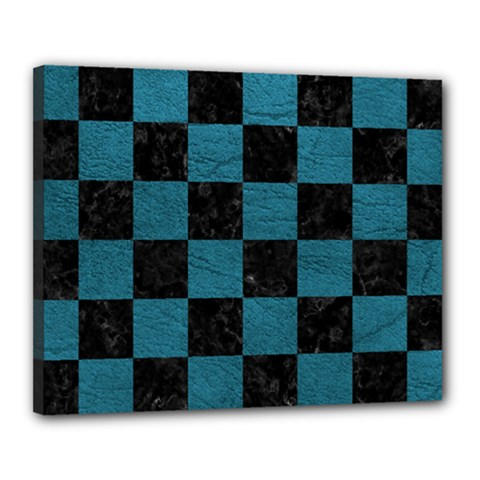 SQUARE1 BLACK MARBLE & TEAL LEATHER Canvas 20  x 16