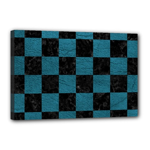 SQUARE1 BLACK MARBLE & TEAL LEATHER Canvas 18  x 12