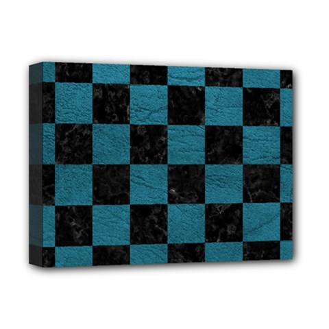 SQUARE1 BLACK MARBLE & TEAL LEATHER Deluxe Canvas 16  x 12
