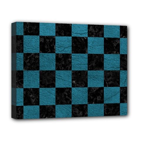 SQUARE1 BLACK MARBLE & TEAL LEATHER Deluxe Canvas 20  x 16