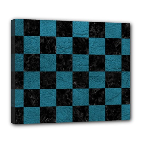 SQUARE1 BLACK MARBLE & TEAL LEATHER Deluxe Canvas 24  x 20