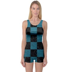 SQUARE1 BLACK MARBLE & TEAL LEATHER One Piece Boyleg Swimsuit