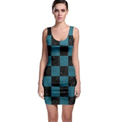 SQUARE1 BLACK MARBLE & TEAL LEATHER Bodycon Dress