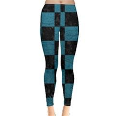 SQUARE1 BLACK MARBLE & TEAL LEATHER Leggings