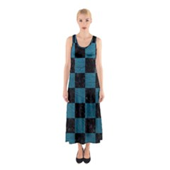 SQUARE1 BLACK MARBLE & TEAL LEATHER Sleeveless Maxi Dress