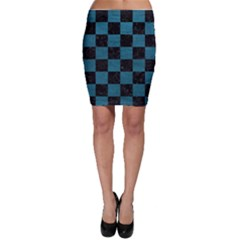 SQUARE1 BLACK MARBLE & TEAL LEATHER Bodycon Skirt