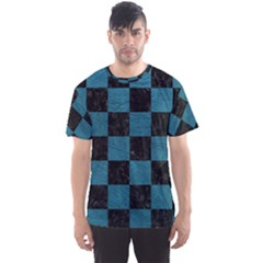 SQUARE1 BLACK MARBLE & TEAL LEATHER Men s Sports Mesh Tee