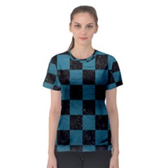 SQUARE1 BLACK MARBLE & TEAL LEATHER Women s Sport Mesh Tee