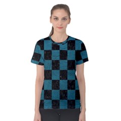 SQUARE1 BLACK MARBLE & TEAL LEATHER Women s Cotton Tee