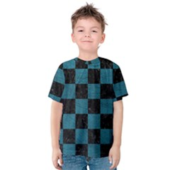 SQUARE1 BLACK MARBLE & TEAL LEATHER Kids  Cotton Tee