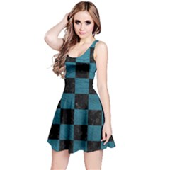 SQUARE1 BLACK MARBLE & TEAL LEATHER Reversible Sleeveless Dress