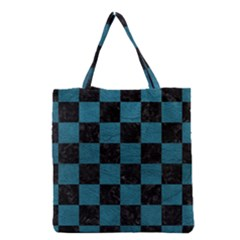 SQUARE1 BLACK MARBLE & TEAL LEATHER Grocery Tote Bag