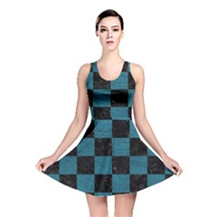 SQUARE1 BLACK MARBLE & TEAL LEATHER Reversible Skater Dress
