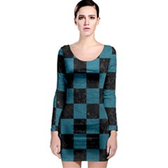 SQUARE1 BLACK MARBLE & TEAL LEATHER Long Sleeve Bodycon Dress