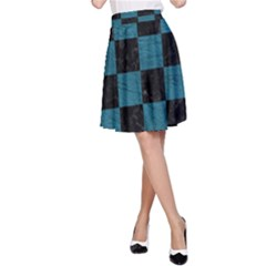 SQUARE1 BLACK MARBLE & TEAL LEATHER A-Line Skirt