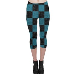 SQUARE1 BLACK MARBLE & TEAL LEATHER Capri Leggings