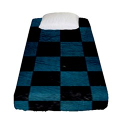 SQUARE1 BLACK MARBLE & TEAL LEATHER Fitted Sheet (Single Size)