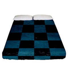 SQUARE1 BLACK MARBLE & TEAL LEATHER Fitted Sheet (Queen Size)