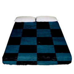 SQUARE1 BLACK MARBLE & TEAL LEATHER Fitted Sheet (King Size)