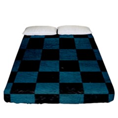 SQUARE1 BLACK MARBLE & TEAL LEATHER Fitted Sheet (California King Size)