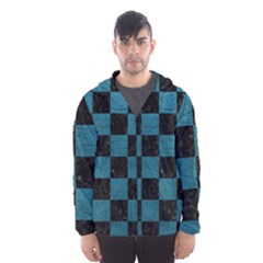 SQUARE1 BLACK MARBLE & TEAL LEATHER Hooded Wind Breaker (Men)