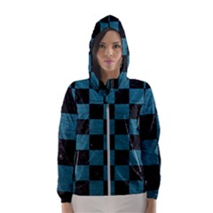 SQUARE1 BLACK MARBLE & TEAL LEATHER Hooded Wind Breaker (Women)
