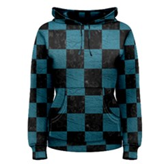 SQUARE1 BLACK MARBLE & TEAL LEATHER Women s Pullover Hoodie