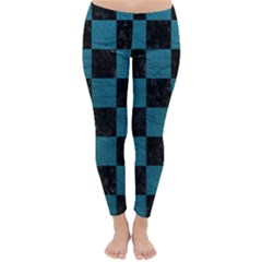 SQUARE1 BLACK MARBLE & TEAL LEATHER Classic Winter Leggings