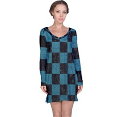 SQUARE1 BLACK MARBLE & TEAL LEATHER Long Sleeve Nightdress