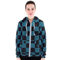 SQUARE1 BLACK MARBLE & TEAL LEATHER Women s Zipper Hoodie