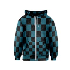 SQUARE1 BLACK MARBLE & TEAL LEATHER Kids  Zipper Hoodie