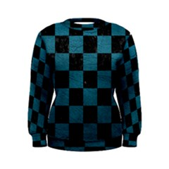 SQUARE1 BLACK MARBLE & TEAL LEATHER Women s Sweatshirt