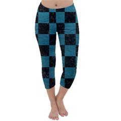 SQUARE1 BLACK MARBLE & TEAL LEATHER Capri Winter Leggings