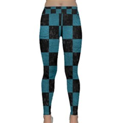 SQUARE1 BLACK MARBLE & TEAL LEATHER Classic Yoga Leggings