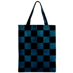 SQUARE1 BLACK MARBLE & TEAL LEATHER Zipper Classic Tote Bag